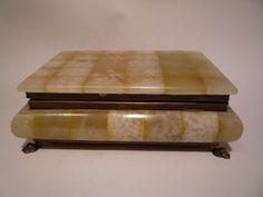 Vintage Alabaster Marble Jewelry Trinket Box Brass Claw Feet Italy