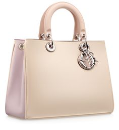 DIORISSIMO - Small three-tone pinky beige, foulard-colour and powder pink smooth leather 'Diorissimo' bag