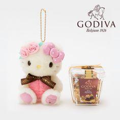 Hello Kitty Plush Doll Mascot Charm & GODIVA Belgium Chocolate Set 2017 SANRIO JAPAN