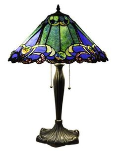 "Handcrafted Victorian Styled Tiffany Style Stained Glass Table Lamp W/ 18"" Shade                                                                                                                                                                                 Más"