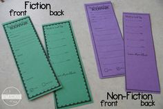 reading comprehension bookmark for fiction and non fiction