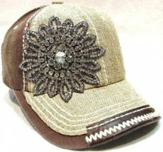 Women's Olive & Pique Large Rhinestone Flower Two-Tone Ball Cap (Tan & Black) Flower Patch, Caps Hats, Women's Hats, Western Wear, Brown And Grey, Hats For Women, Crystal Rhinestone, Baseball Cap, Bling