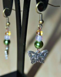 Silver butterfly earrings Beaded butterly by TwyningsDesigns