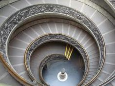 Vatican Museums' Spiral Staircase, Rome. Giuseppe Momo created wide ramplike steps and two separate helixes of the spiral staircase so that one leads up and the other goes down—twisting together into a double-helix formation decades before Watson and Crick discovered the structure of DNA. Take The Stairs, Double Helix, Spiral Staircase, Vatican, Museums, Dna, Separate, Rome, Places