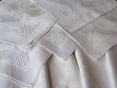 Antique Irish French Linen Damask Monogram A P N Lapkins Napkin Serviettes 12