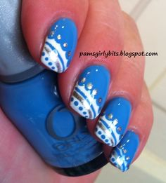 Nail art- Blue and white scalloped lace + a tutorial