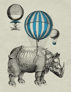 Hot Air Balloon Rhinoceros Vintage Style by vintagecomiccreation