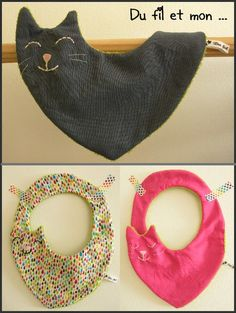 Petite création maison...  Petits bavoirs chat pour petites ou grosses taches !
