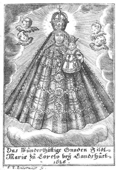 An 18th century engraving of the miraculous statue of Our Lady of Loreto in Landshut, Germany.