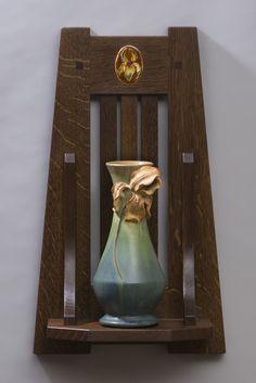 Ephraim Pottery American Craftsman Wall Shelf -Quarter Sawn White Oak -17″H x 10″W x 5.5″D