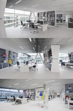 Open Plan Office with color pointed items #openplanoffice Cubicles.com