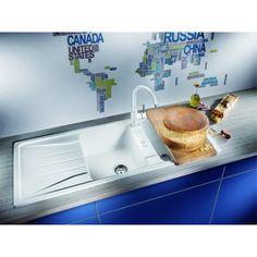 CHIUVETA DE BUCATARIE BLANCO SONA 8 S SILGRANIT GRI PERLAT REVERSIBILA INCORPORABILA - Iak Bathtub, Appliances, Bathroom, White People, Granite Counters, Standing Bath, Gadgets, Washroom, Bathtubs