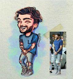 Pinterest: Mrmrln One Direction Fan Art, One Direction Drawings, One Direction Pictures, Zayn Malik Images, Zayn Malik Pics, Cartoon Drawings, Cute Drawings, Zany Malik, Zayn Malik Style