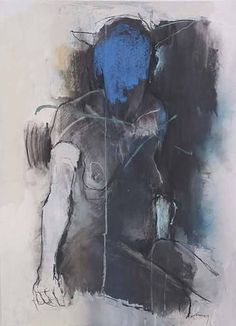 harry paul ally: seated figure with blue face Figure Painting, Figure Drawing, Painting & Drawing, Painting Inspiration, Art Inspo, Kunst Online, Figurative Art, Art Studios, Oeuvre D'art