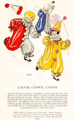 1920's Masquerade Patterns, Pictorial Review  - Laugh, Clown, Laugh