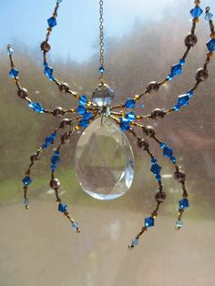 Beaded Vintage Crystal Spider - Impressive Spider Sculpture -Capris Blue Dark harbor Sun Catcher by Spidertown on Etsy