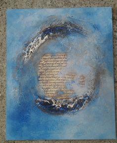 Tableau Craquelé de Françoise, powerprint, bister, powertex ivoire et bleu, superbe non!