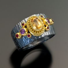 oxidized sterling silver granulation 22kt gold sapphire spinel ring