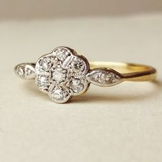 Art Deco Diamond Flower Ring Antique Engagement Ring by luxedeluxe, $398.00