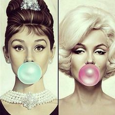 Two idols  Two bubbles  Two colours  #marilynmonroe#odryhepburn#love