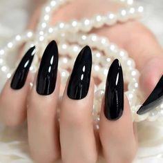 Material: AcrylicQuantity: 1 Set Size: Long Black Nails, Black Almond Nails, Black Stiletto Nails, Black Acrylic Nails, Pointed Nails, Coffin Nails Long, Nail Black, Acrylic Gel, Black Nail Designs