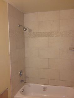 Tub Tile Surround with Travertine Band