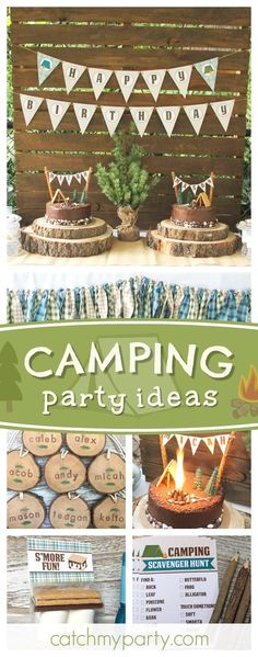 Check out this awesome Summer Camp birthday for twins! The campsite cakes are fantastic!! See more party ideas and share yours at CatchMyParty.com