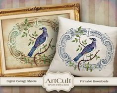 EXOTIC BIRD - Two Digital Sheets Printable Images to print on fabric / paper, Iron On Transfer for tote bags t-shirts pillows