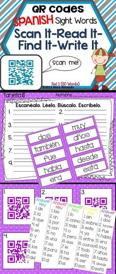 QR Codes in SPANISH --Scan It-Read It. Find It-Write It. Your kids will LOVE these!!!!  So easy to use...all you need is an iPod, iPad, smart phone, or tablet and a free APP that you can download.