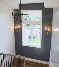 Modern Farmhouse Home Tour: Millhaven Homes Something as simple as shiplapping an accent wall and painting it a dark rich color is a beautiful Farmhouse Light Fixtures, Farmhouse Chandelier, Modern Farmhouse Lighting, Modern Farmhouse Interiors, Modern Interior, Farmhouse Remodel, Farmhouse Homes, Farmhouse Decor, Farmhouse Stairs