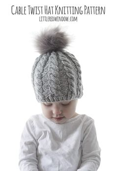 Twist Cable Hat pattern by Cassandra May The Twist Cable Hat Knitting Pattern combines a gorgeous twisting knit cable pattern with a fun fur hat kids fun Cable Knitting Patterns, Baby Hat Knitting Pattern, Baby Hat Patterns, Baby Hats Knitting, Finger Knitting, Free Knitting, Crochet Patterns, Knitted Hats Kids, Knitted Baby