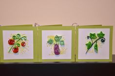 Gift tags or mini cards to attach to thank you gifts for a garden group. Quilled (paper quilling) vegetable designs: tomato, eggplant, and cucumber.