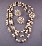 HASKELL necklace and earrings of pearls & petals