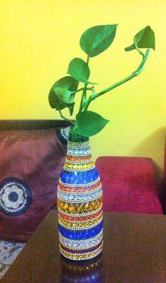 Old vase with kundan work rangoli kundan pinterest vase for Plastic bottle decoration images