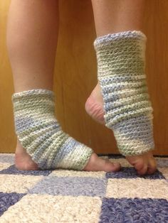 You have to feel these -- they are satiny like a baby blanket. Yoga Socks in Sea Spray Blue Green White Mostly by CarrotCreations, $14.00