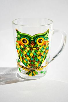 Owl Mug, Custom Coffee Mug, Hand Painted Green Owl Cup by Vitraaze on Etsy