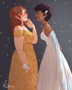 Cute Lesbian Couples, Lesbian Art, Rainbow Dash, Jacques A Dit, Becky Albertalli, L Wallpaper, Queer Art, Fan Art, Couple Art