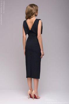 Купить платье-футляр темно-синее в мелкий горошек с декоративной отделкой в интернет-магазине 1001 DRESS