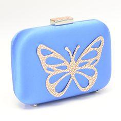 Butterfly Box Clutch in Bluette Satin Shoes | Aruna Seth