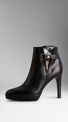 Check Detail Leather Ankle Boots Burberry Boots e46e92d5edc6