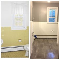New Home: Main Bath Painted Over Tile, Glidden Granite Grey Walls, Home  Depot Traffic Master Groutable Vinyl Tile Stick Downs In Coastal Grey