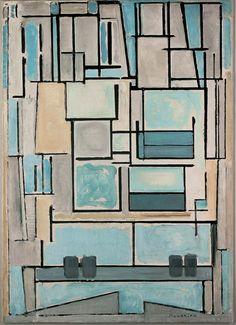 Piet Mondrian, Composition Nr. VI, Blue Facade, 1914. Oil on canvas. Netherlands. Fondation Beyeler, Photo: Peter Schibli, Basel