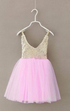"Pink Tulle and Gold Sequins ""NORA"" Dress"