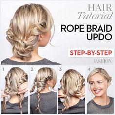 Rope braid updo tutorial