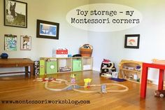 Toy storage – my montessori corners from Montessori Works