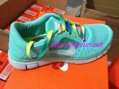 $49.99 Cheap and cute Rainbow Lace Nike Free Run 3 Tiffany Blue Metallic Silver