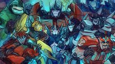 Team Prime, I want to be in there❤️ oh my gosh, look at how Optimus has his hand on Smockscrean's head!!!!! How adorable