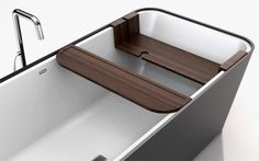 Modern Bathtub with Customizable Accessories and Attachments – Bathe - The Great Inspiration for Your Building Design - Home, Building, Furniture and Interior Design Ideas Bathtub Shelf, Bath Table, Modern Bathtub, Well Thought Out, Building Design, Space Saving, Sink, Shelves, House Design