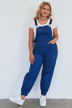Edgy Outfits, Small Waist, Shoulder Straps, Royal Blue, Joggers, Overalls, Zipper, Clothing Ideas, Model