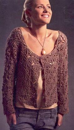 Crochetemoda: Casaqueto Marrom de Crochet